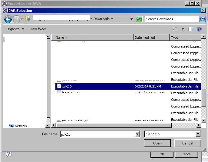 select jar file
