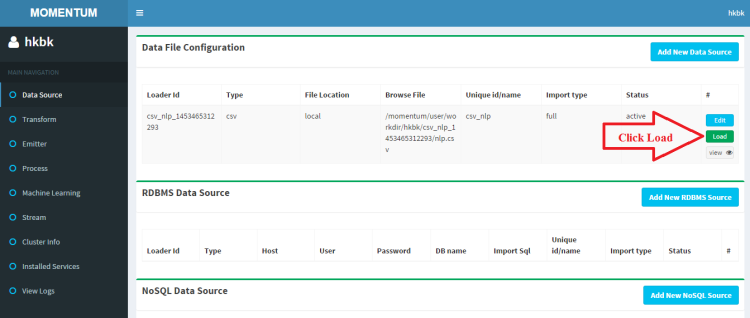Click on Load to Process this csv file