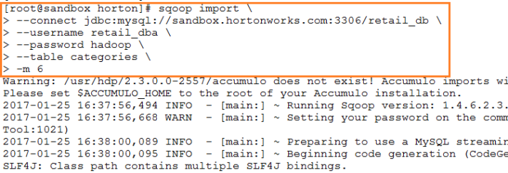 SQOOP Import Command