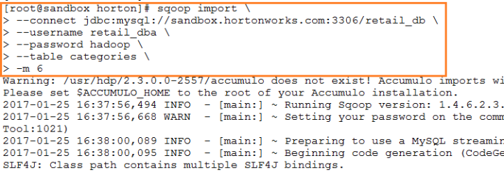 SQOOP Import Command