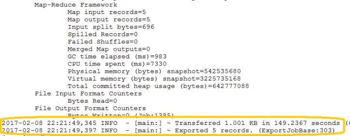 Sqoop Export Output - 2
