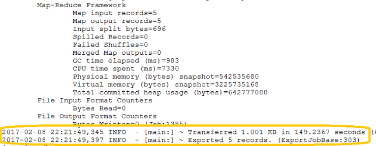 Sqoop Export Output - 2