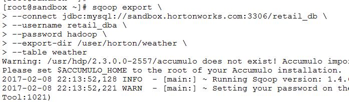 Sqoop Export Command