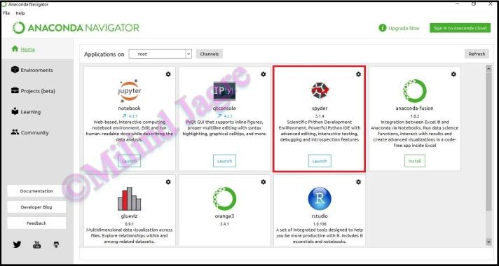 Anaconda Navigator Application Window