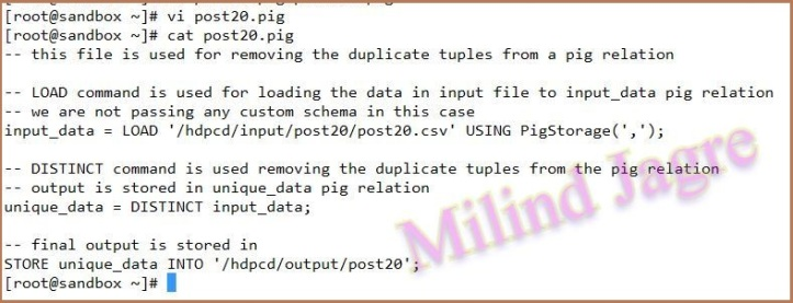 step 3: creating PIG script to remove duplicate tuples