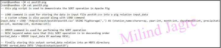 Step 3: creating pig script to sort data