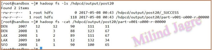 step 5: HDFS output directory contents