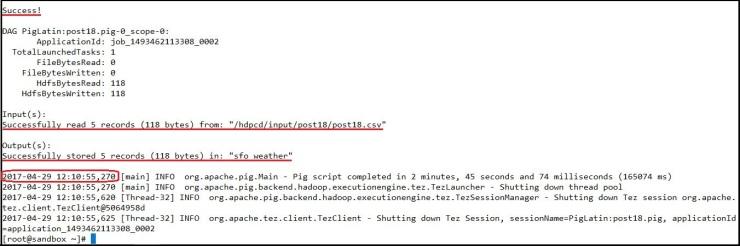 pig script execution output