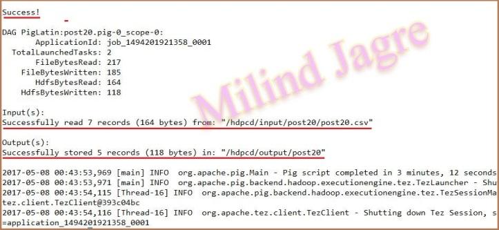 step 4: pig script execution output