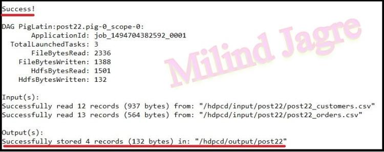 Step 5: pig script execution output