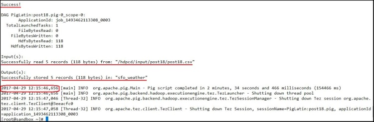 pig script re-execution output
