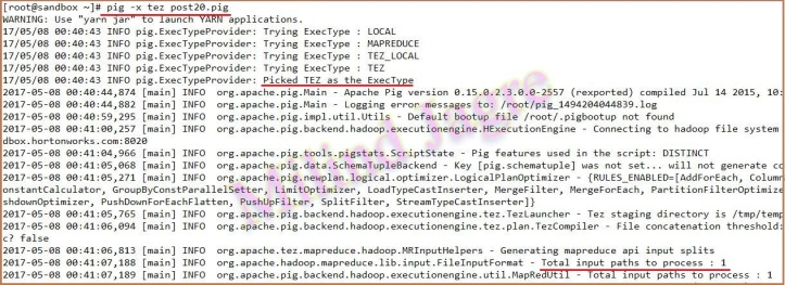 step 4: running pig script for removing duplicates