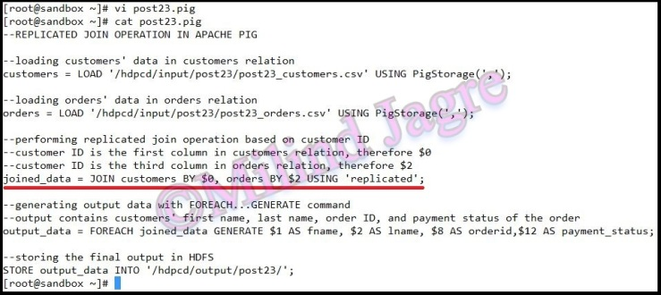 Step 4: creating pig script to perform replicated join