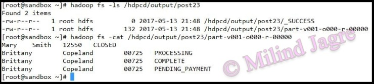 Step 6: output HDFS directory contents