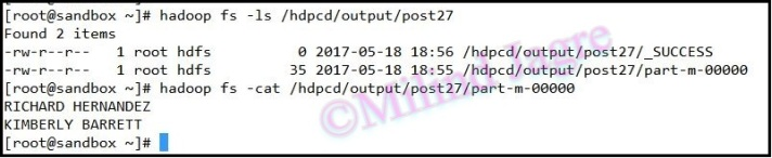 Step 5: output HDFS directory contents