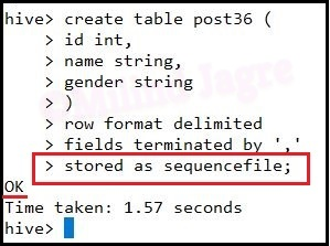 Step 2: Creating hive table with defined storage type