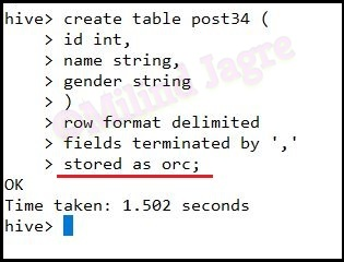 Step 2: Creating the hive table with ORC format