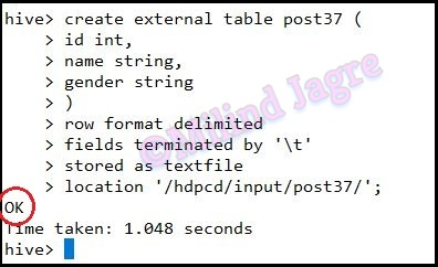 Step 3: Creating hive table with TAB-delimited records