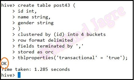 Step 2: Creating hive table post43