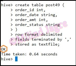 Step 3: Creating Hive table with matching schema
