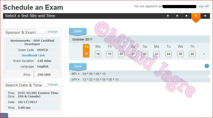 Step 7-a: Choosing the time slot for the certification