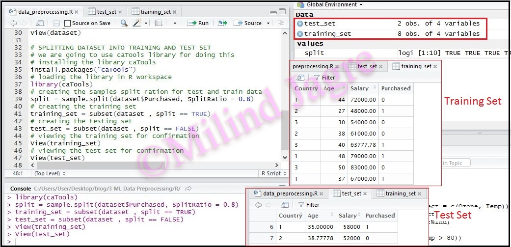 TEST and TRAIN datasets in R
